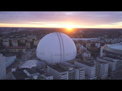 2567. Globen (Stockholm Globe Arena) Drone Stock Footage Video