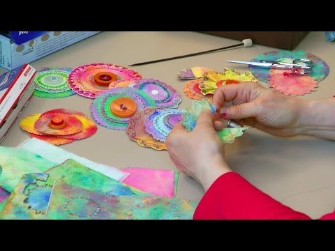 Fabric-Paper Circle Flowers Fast And Fun - HowToGetCreative.com with Barb Owen