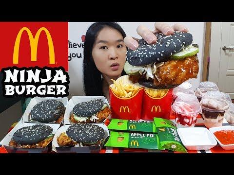 MCDONALD'S NINJA CHICKEN BURGER! Hot Fudge Sundae, Apple Pie Fries   Eating Show Mukbang Food Review