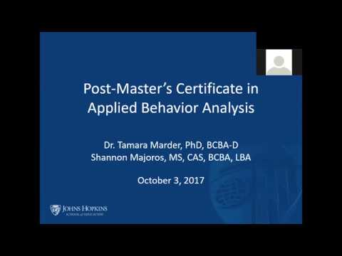 Johns Hopkins School of Education: Post Master's Certificate in Applied Behavior Analysis