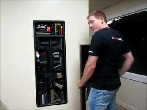 Hidden rifle storage youtube False wall safe