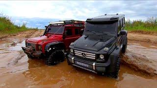 Сравнительный тест в грязи! OFFroad на Гелике и Дефендере! Traxxas TRX-4 G500