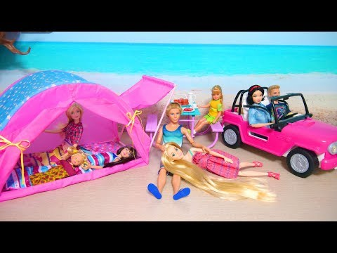Doll Camping Tent & Barbie Beach Cruiser Unboxing Puppe Zelt Poupe Voiture Mobil boneka Barbie