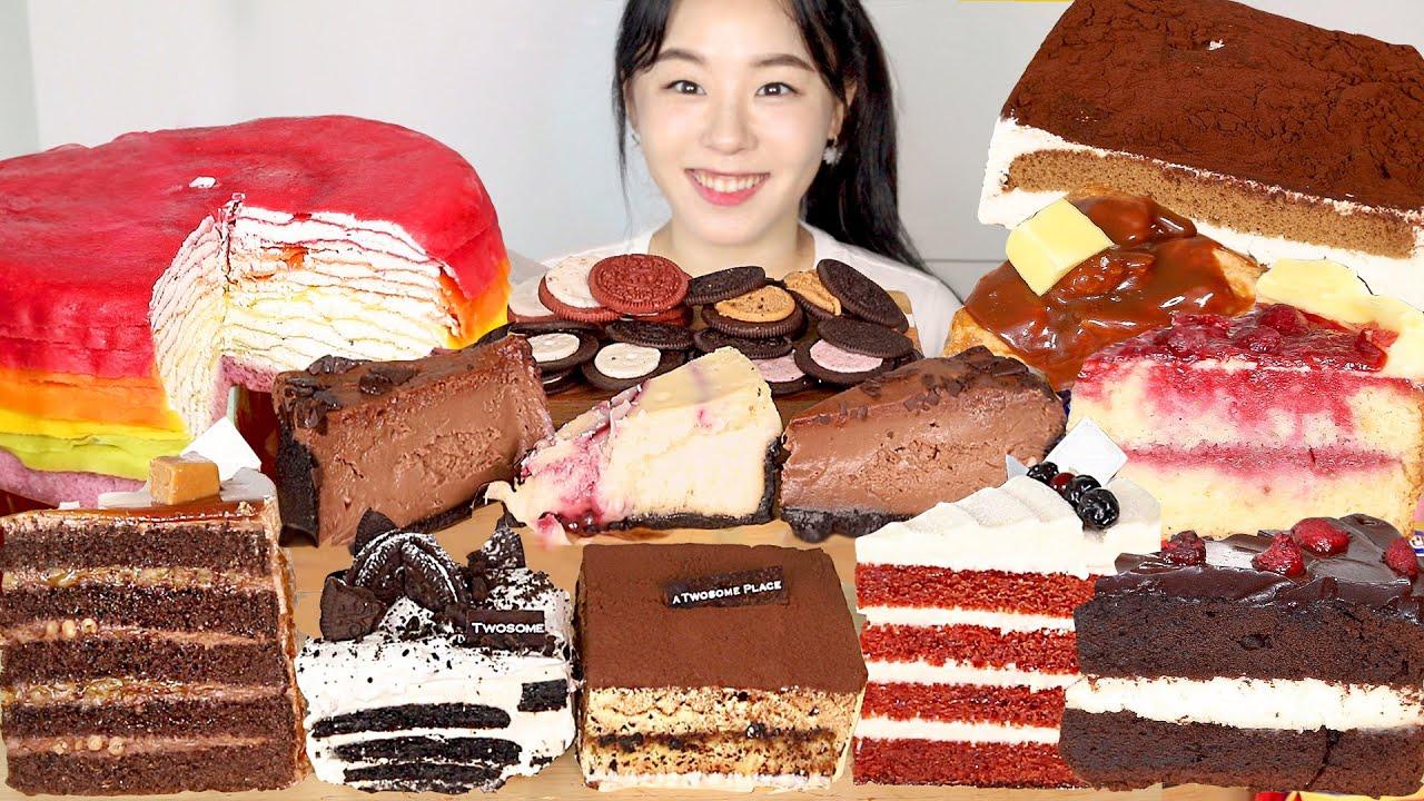 ASMR Cake Dessert Mukbang 케이크 디저트 먹방 🍰 투썸 아이스박스 치즈케이크 티라미수 크레이프케이크 스콘 Chocolate Tiramisu Cheese Cake