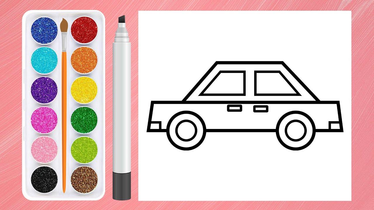 Bé tập vẽ và tô màu xe oto - Drawing and coloring a car for kid