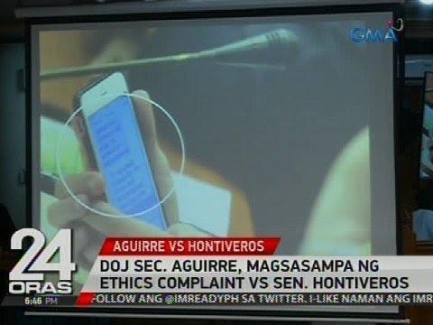 24 Oras: DOJ Sec. Aguirre, magsasampa ng ethics complaint vs Sen. Hontiveros
