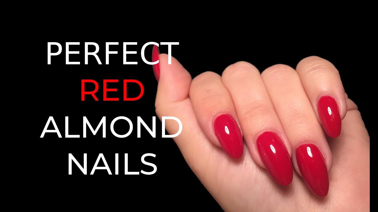 Pure Red Gel Almond Nails | Short - YouTube