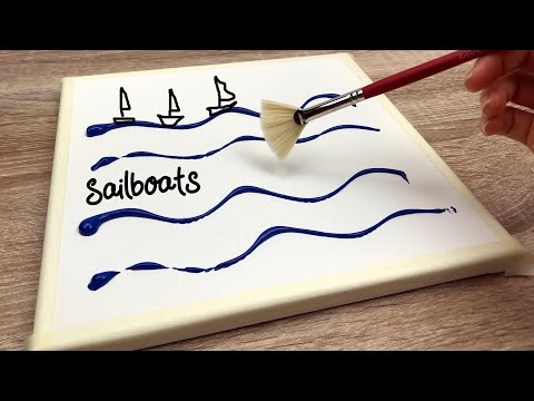Abstract Sailboats | Easy Acrylic  Painting on Canvas Step by Step Satisfying Demo#4 |Creative World
