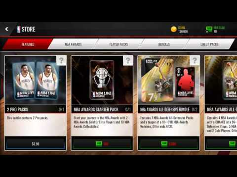 NBA AWARDS ALL-DEFENSIVE PACK 2ND TRY!! NBA LIVE MOBILE