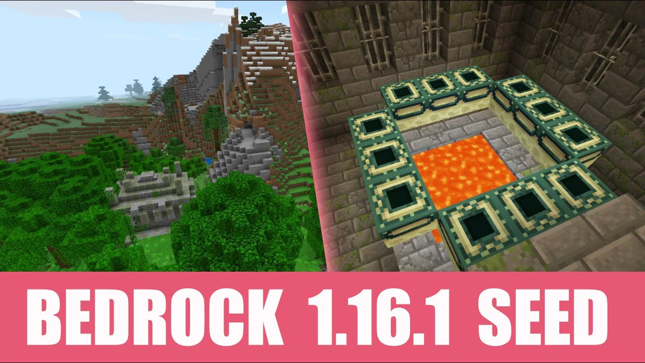Minecraft Bedrock 1 16 1 Seed Jungle Temple At Spawn And Stronghold Under Village Youtube