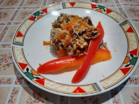 Мировая закуска из сушеных баклажан (Pkhali) Appetizer from dried aubergines