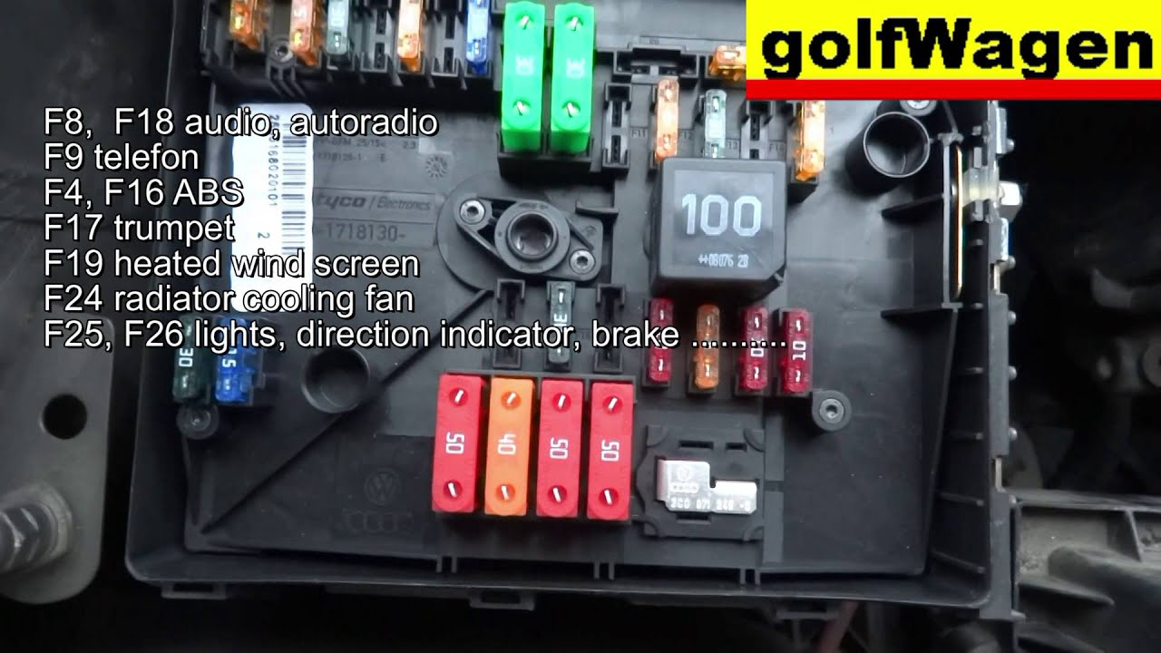 vw golf 5 fuse location and fuse diagram engine fuse too youtube rh youtube com 200 Golf GTI Fuse Box 200 Golf GTI Fuse Box