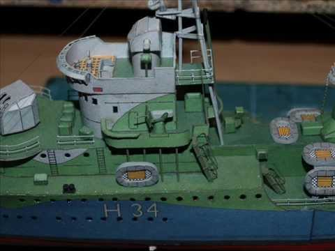 Papercraft ORP Blyskawica Paper model- The build