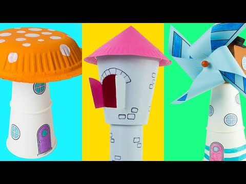 DIY Cardboard Houses from Paper Cups, Cartons and Paper Rolls | Easy & Fun Craft Ideas