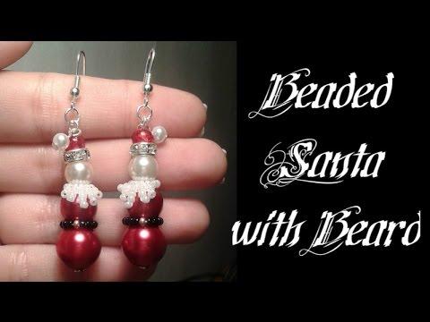 Santa with Beard Earrings Beading Tutorial by HoneyBeads1 (Christmas jewelry)