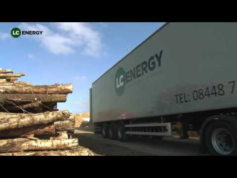 A large commercial wood chip delivery