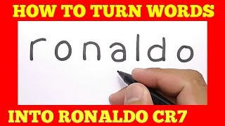 AMAZING, cara menggambar RONALDO CR7 dari kata RONALDO / how to turn words RONALDO into cartoon