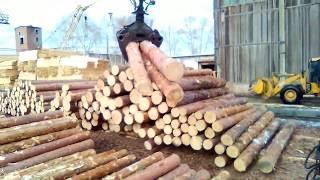 Работа гидроманипулятора для леса - Сортировка леса фишкой с Камаза на работе