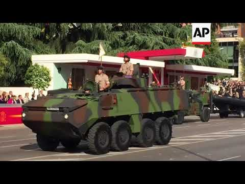 Colourful parade in Madrid marking Spain's national day