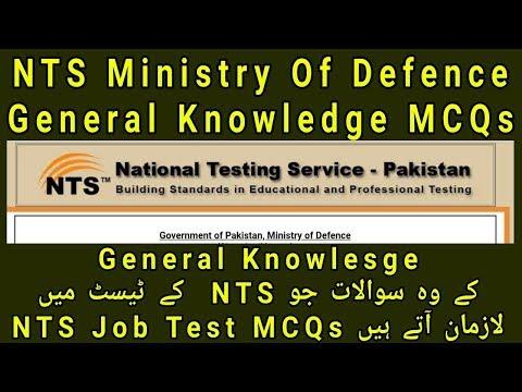 NTS General Knowledge Ministry Of Defense Job Test MCQs L
