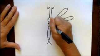 How To Draw A Dragonfly Step-by-Step Cartoon Tutorial