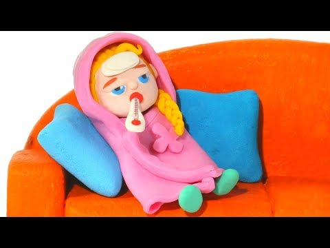 BABY ELSA HAS A COLD ❤ Spiderman, Hulk & Frozen Elsa Play Doh Cartoons For Kids