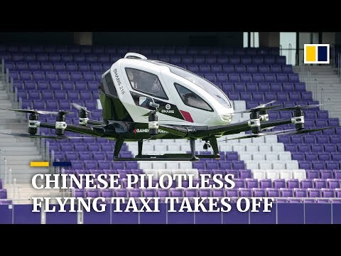 Flying taxi Ehang 216 developed by Chinese and Austrian companies takes off in Vienna
