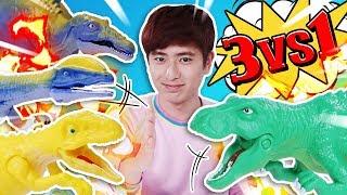 육식공룡 학교에가면 무슨일이 일어날까요? 공룡메카드 더블피큐어 세트 장난감 놀이 - 강이