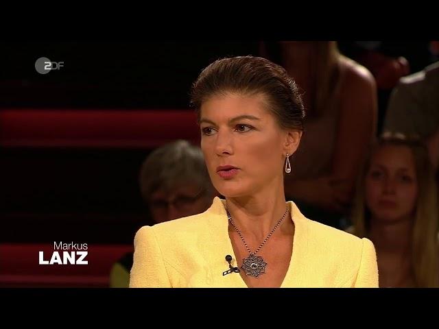 Sahra Wagenknecht am 12.  September 2019 bei Markus Lanz im ZDF zur CO2 Steuer