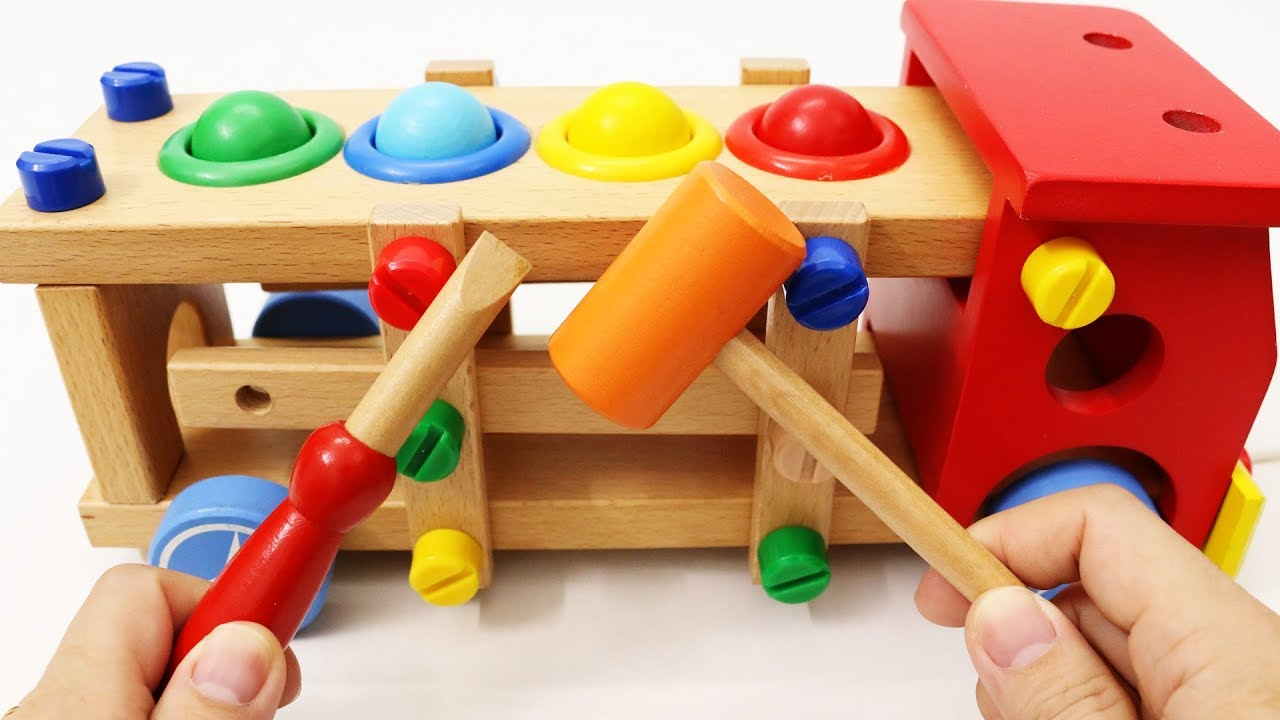 Learn Colors With Wooden Truck Toy Hammer Ball Toy For