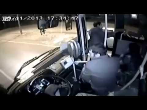 Bus driver slams on the brakes