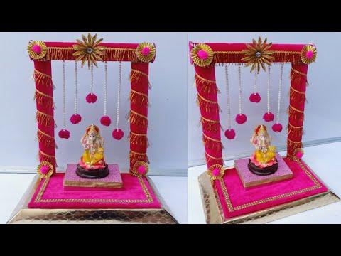 Ganpati Decoration Ideas/Ganpati Makhar/Eco Friendly Ganpati Decoration Ideas at home/Ganesh Mandap