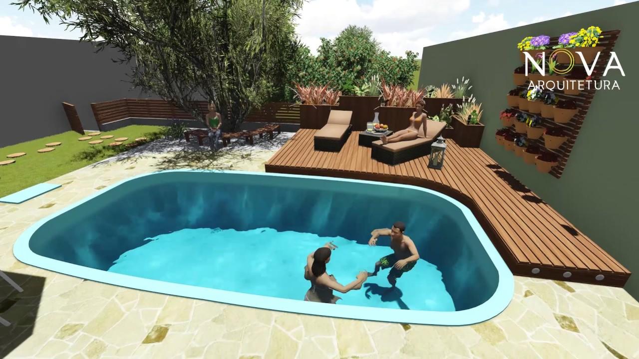 projeto de rea de lazer com deck piscina e paisagismo