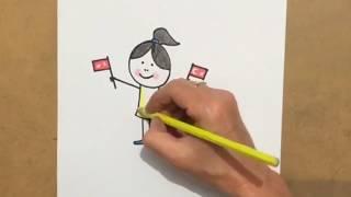 Çocuklar için kolay resim,Kolay kız,23 Nisan bayram resmi,bayrak,bayram çizelim,kuruboya boyama