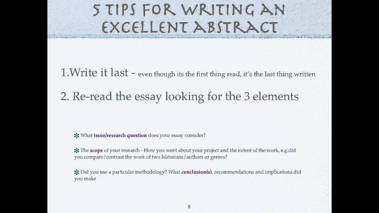 how to write an essay abstract This short tutorial video contains tips on how to write an abstract for the ib diploma extended essay it contains a number of good examples along with an.