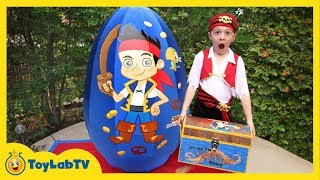 GIANT EGG SURPRISE OPENING Jake and the Neverland Toys & Animal Planet Sharks Kids Video