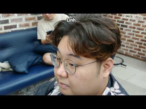 [Full ver] Hướng dẫn cắt va uốn tóc nam chẻ 2 mái  layer cắt toc 가르마 펌 How to style Asian hair