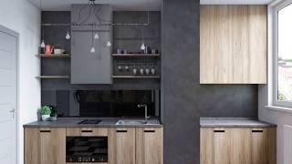 INTERIOR DESIGN of a small apartment studio in LOFT style