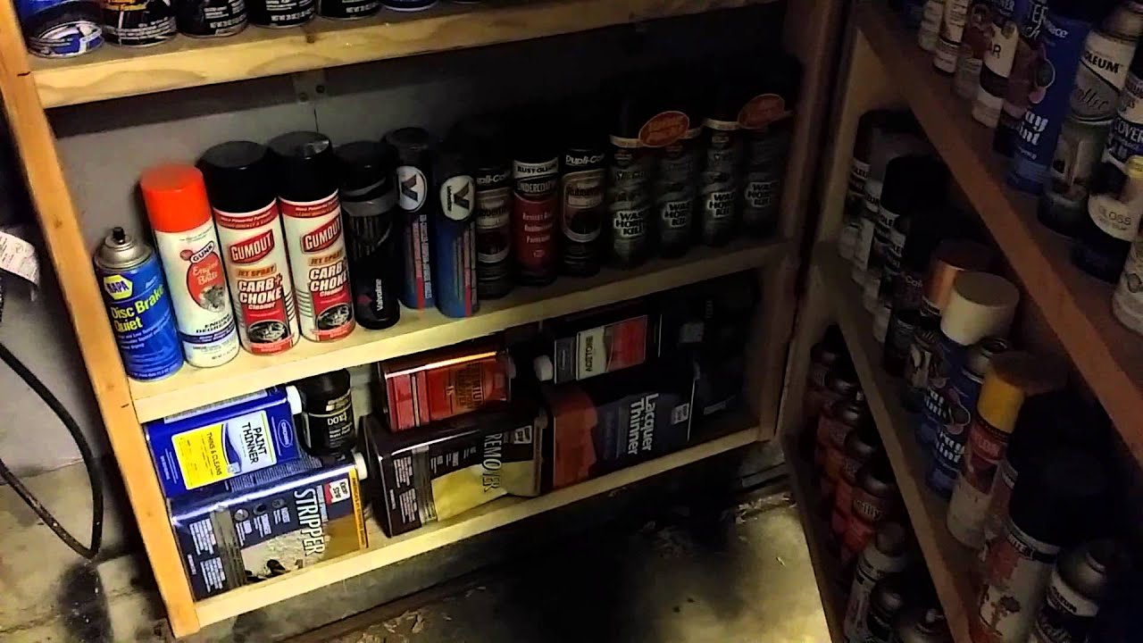 garage storage spray paint and can storage youtube. Black Bedroom Furniture Sets. Home Design Ideas