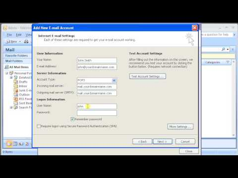 Setting Webmail to Microsoft Outlook 2007