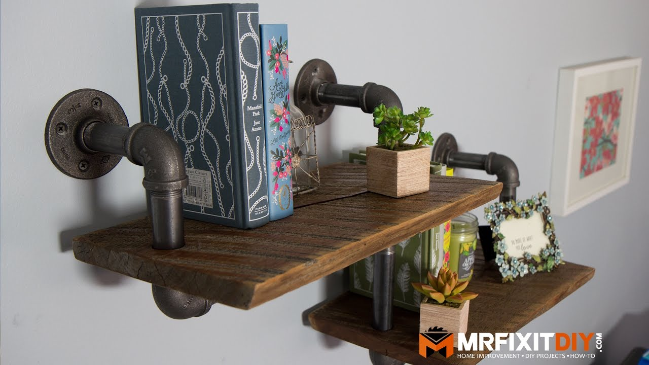 Diy industrial pipe shelf youtube for Diy industrial bookshelf