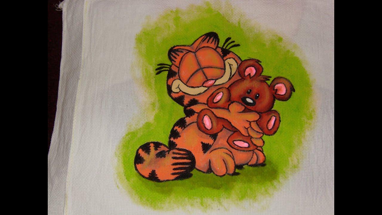 DIY Cómo pintar en tela a Garfield abrazando a Pooky - YouTube