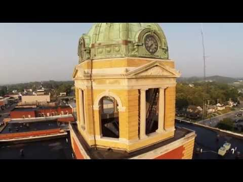 Above Woodsfield, Ohio and The Monroe County Courthouse Dome