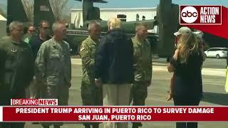 President Trump arrives in Puerto Rico following Hurricane Maria