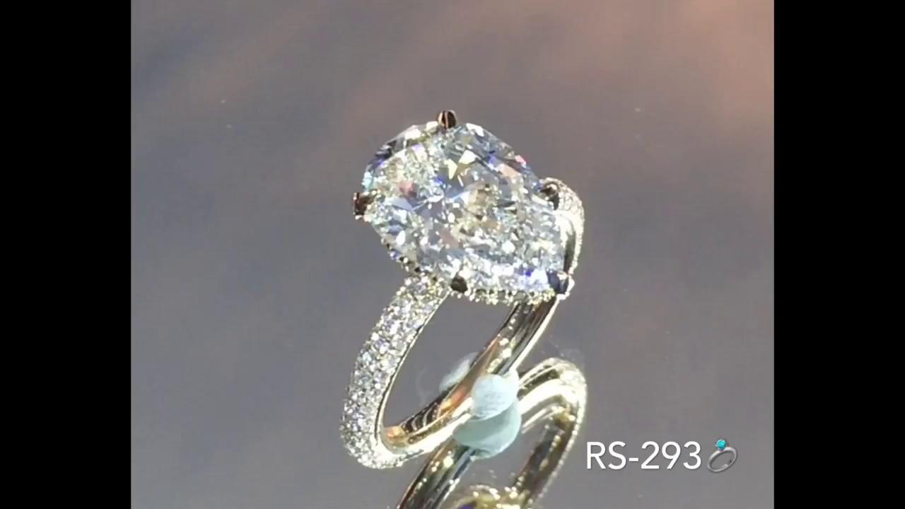 4 Carat Pear Shape Diamond Engagement Ring Youtube