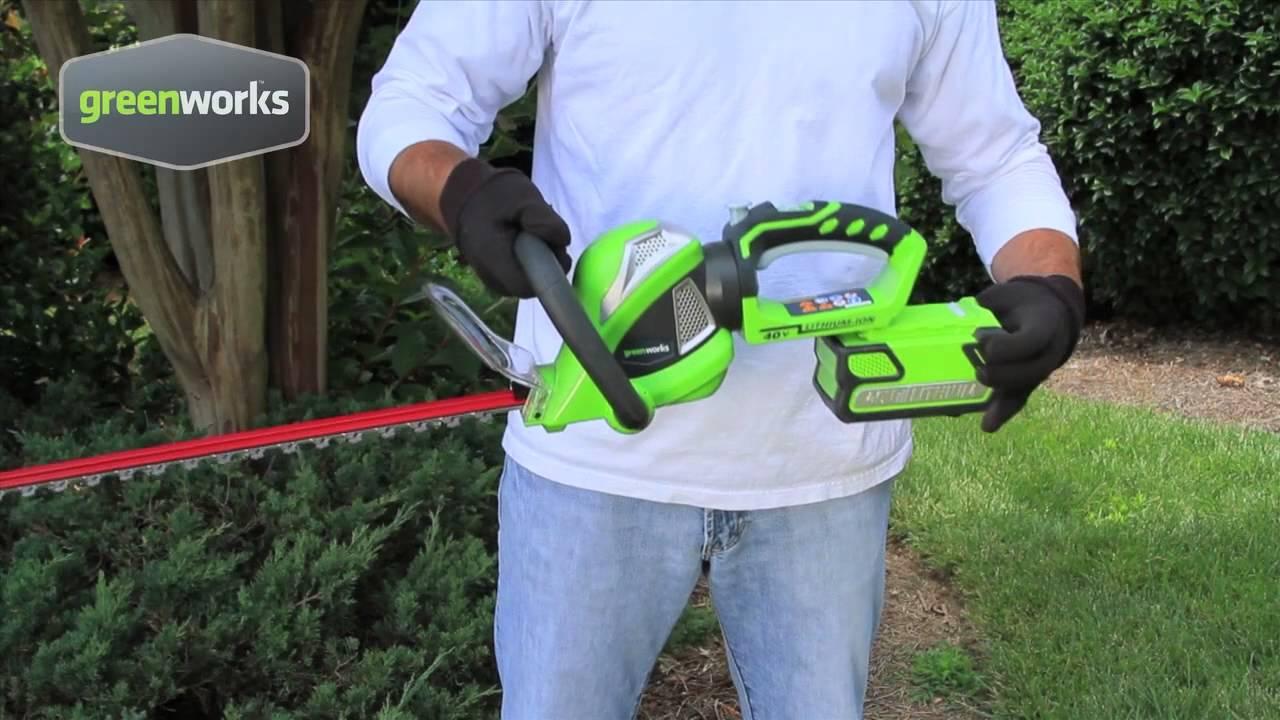 fr greenworks tools 61cm taille haie sans fil 40v lithium ion youtube. Black Bedroom Furniture Sets. Home Design Ideas