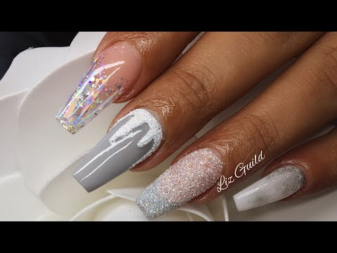 Acrylic Nails Winter Design Sugared Snow