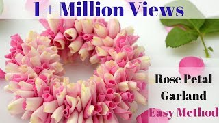 How to String Rose Petals garland || Easy Method to make garland Rose Petals || Rainbow Rangoli