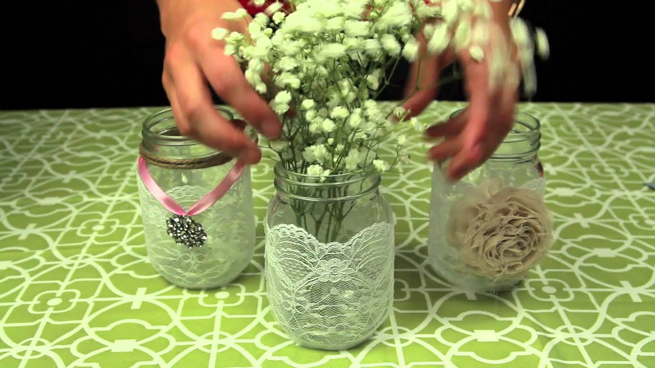 How to Decorate Mason Jars for a Wedding - YouTube