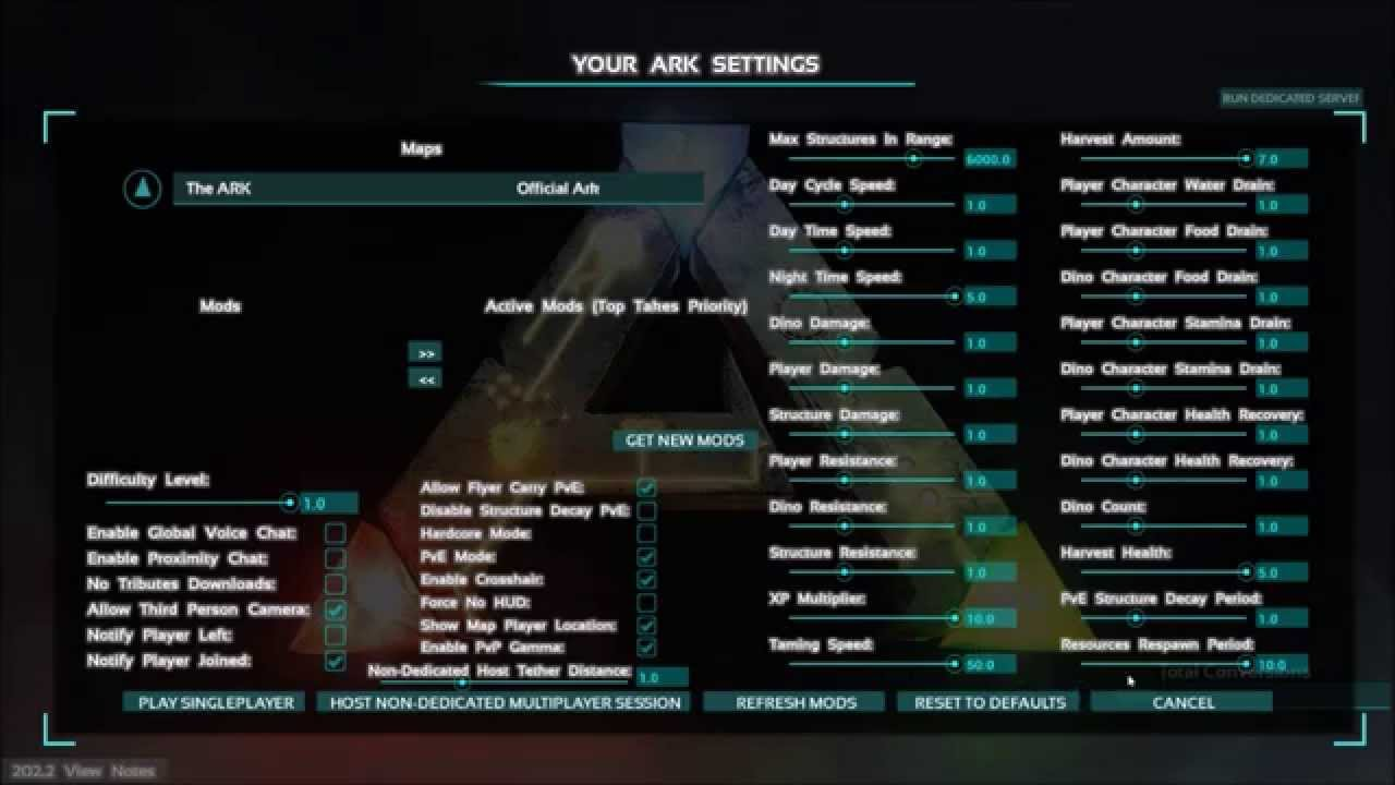 Ark non dedicated server change settings x
